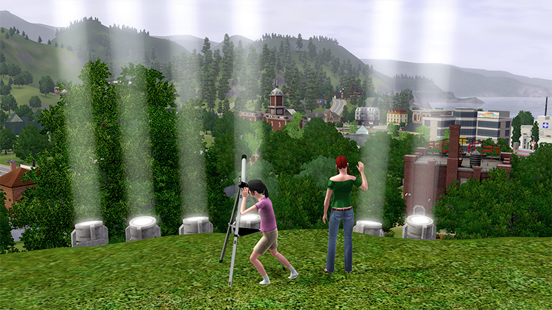 "Ronnie scanning the skies for Juno, while Janet waves and searchlights spell ""Hi"" in Morse code."