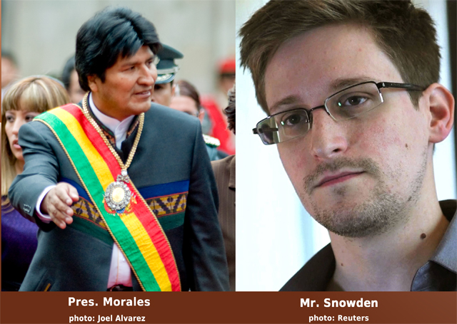 Left: Evo Morales, photo by Joel Alvarez. Right: Edward Snowden, Reuters photo.